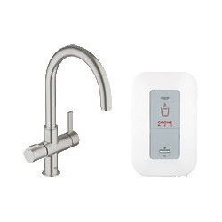 Grohe Red® Duo, compleet pakket met ééngreepsmengkraan voor kokend, warm en koud water en single boiler, supersteel
