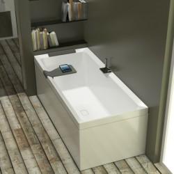 Novellini  diva 190x90 dynamic airafst.ts.kraan wit mat 3 zijpan.acc.wit gestreept