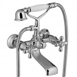 PONSI Viareggio 3 gatsmengkraan op badrand afwerkset en inbouwlichaam Nickel Brillant naturale