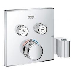 Grohe SmartControl inbouwthermostaat, 2 uitgangen, vierkant, met geïntegreerde douchehouder