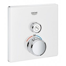 Grohe SmartControl inbouwthermostaat, 1 uitgang, vierkant, Moon White glas
