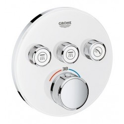 Grohe SmartControl inbouwthermostaat, 3 uitgangen, rond, Moon White glas