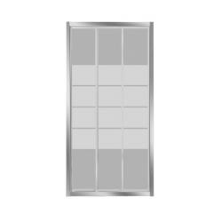 Banio-Avit 3-delige schuifdeur met verchroomde aluminium profielen en 4mm helder glas, 4 matte stroken - Afmetingen 100x185cm