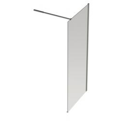 Banio Design Anne Vaste wand met helder easy clean glas 6mm, stabilisatiestang verstelbaar 80-120cm