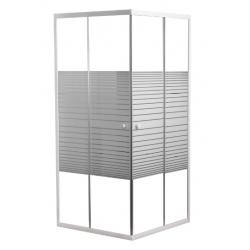 Banio Inga hoekinstap met schuifdeuren, wit gelakte profielen en 4mm helder glas met witte lijnen - 80x80x190cm