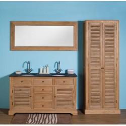 Banio-Alain Badkamermeubel in lichte eiken kleur met spiegel en kolomkast 150x55x86cm