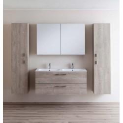 Badkamermeubel Banio-Dante Eiken-Betonlook met 2 matte wastafels - 55x120x51 cm