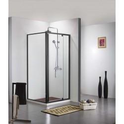 Douchedeur met douchewand Banio-Urian Zwart - 120x90 cm