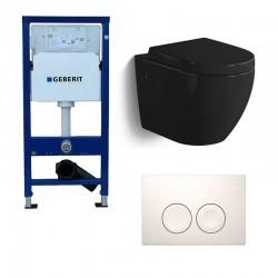 Geberit Pack Banio-Gary Hangtoilet zwart glanzend met Geberit Duofix Delta en witte toets Compleet