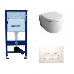 Geberit Delta Pack met Keramag Icon Hangtoilet wit met softclose bril en witte toets Delta21 Compleet