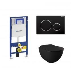 Geberit Pack Banio Design Hangtoilet zwart mat met Duofix Sigma en zwarte toets Compleet