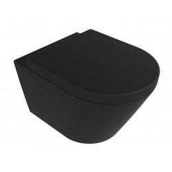 Banio design Ziko Hangtoilet Rimless met zitting - Mat zwart