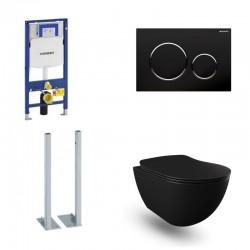 Geberit vrijstaande Pack Banio Design Hangtoilet rimless zwart mat met Duofix Sigma en zwarte toets Sigma20 Compleet