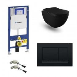 Geberit Pack systemfix Banio Design Hangtoilet rimless zwart mat met Duofix Sigma en zwarte toets Sigma30 Compleet