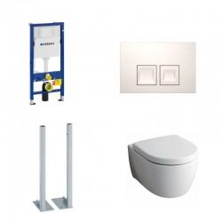 Geberit vrijstaande Delta Pack met Keramag Icon Hangtoilet wit met softclose bril en witte toets Delta50 Compleet