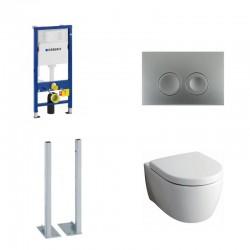 Geberit vrijstaande Delta Pack met Keramag Icon Hangtoilet wit met softclose bril en chrome toets Delta21 Compleet