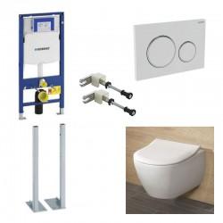 Geberit  vrijstaande systemfix Pack met Villeroy&boch Subway 2.0 Combi-Pack en wit bedieningspaneel