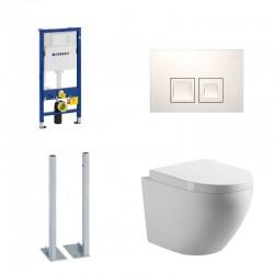 Geberit vrijstaande Pack Banio-Gary Hangtoilet Wit met Geberit Duofix Delta en witte vierkante toets Compleet
