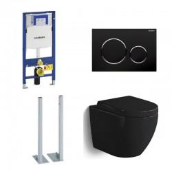 Geberit vrijstaande Pack Hangtoilet Banio-Gary glanzend zwart met duofix en softclose zitting + zwarte toets compleet