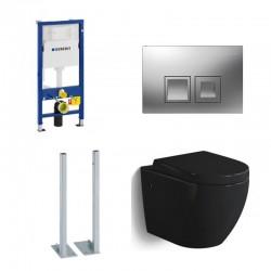 Geberit vrijstaande Pack Banio-Gary Hangtoilet zwart glanzend met Geberit Duofix Delta en vierkante mat chrome toets Compleet