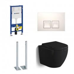 Geberit vrijstaande Pack Banio-Gary Hangtoilet glanzend zwart met Geberit Duofix Delta en witte vierkante toets Compleet