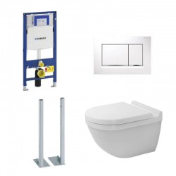 Geberit vrijstaande Pack duofix Sigma met Hangtoilet Duravit Rimless® set en Wit bedieningspaneel