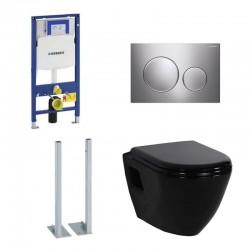 Geberit vrijstaande Pack Duofix Sigma met Design ophang wc zwart en softclose bril
