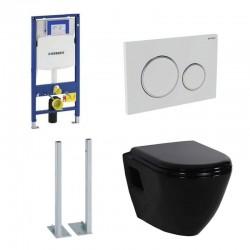 Geberit vrijstaande Pack Duofix Sigma met Design ophang wc zwart met soft-close bril