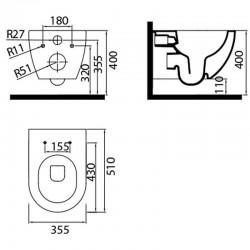 Pack Geberit Duofix Delta chroom met  Creavit design ophang wc RimOff, verborgen bevestiging met wc-zitting soft-clos