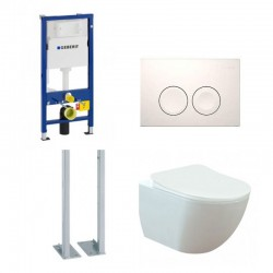 copy of Geberit Duofix vrijstaande wc pack hangtoilet rimless mat wit met sproeier en wit toets compleet