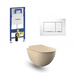 copy of Geberit Duofix wc pack hangtoilet rimless cappucino met sproeier en wit bedieningsplaat compleet