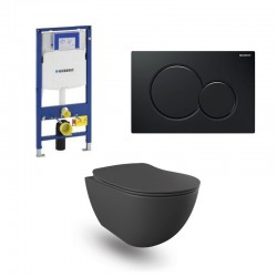 copy of Geberit Duofix wc pack hangtoilet rimless mat antraciet met sproeier en zwart bedieningsplaat compleet