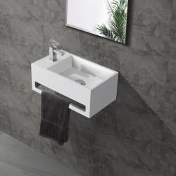 Banio fontein toilet rechthoek met handdoekrek kraangat links 35,6x20,3cm wit