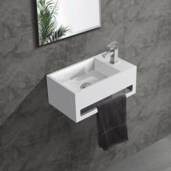 Banio fontein toilet rechthoek met handdoekrek kraangat rechts 35,6x20,3cm wit
