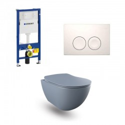 copy of Geberit Duofix wc pack hangtoilet rimless mat basalt en wit bedieningsplaat compleet
