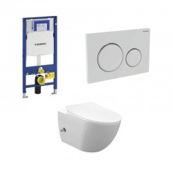 copy of Geberit Duofix wc pack hangtoilet rimless wit met sproeier en koud water kraan wit chroom bedieningsplaat compleet