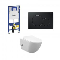 copy of Geberit Duofix wc pack hangtoilet rimless wit met sproeier en koud water kraan zwart bedieningsplaat compleet