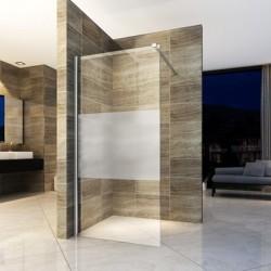 Banio inloopdouchewand met veiligheidglas 8mm 120x200cm - glas met mat band