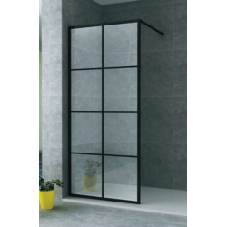 Banio inloopdouchewand met veiligheidglas 8mm 80x200cm - mat zwart