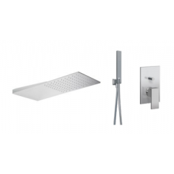 Ponsi inbouw regendouche ultraflat 2mm met rechthoekige handdouche en mengkraan 2 wegen Italia R - chroom