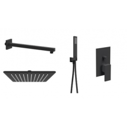 Ponsi inbouw vierkante regendouche 25cm met rechthoekige handdouche en mengkraan 2 wegen Italia R - mat zwart