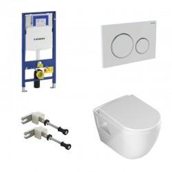 Geberit Duofix hangtoilet pack Banio design met soft-close zitting en witte bedieningspaneel