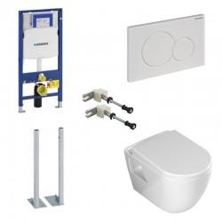 Geberit Duofix vrijstaande hangtoilet pack Banio design met sproeier soft-close zitting en witte bedieningspaneel