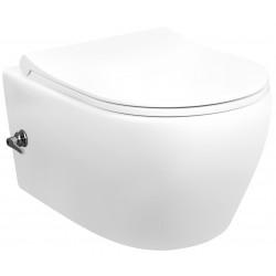 Banio ophang WC design rimless met rvs sproeier en geïntegreerde warm/koud water kraan
