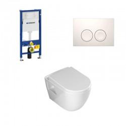 Geberit Duofix hangtoilet pack Banio design met sproeier soft-close zitting en witte bedieningspaneel met kraan