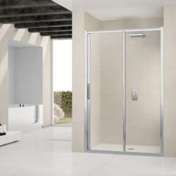 Novellini  lunes 2p 150 deur  verstelbaar van 150-156 cm helder glas geborsteld  profielen in matchroom