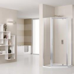 Novellini  lunes pentagono g 100  verstelbaar van 98.5-101.5 cm helder glas geborsteld  profielen in matchroom
